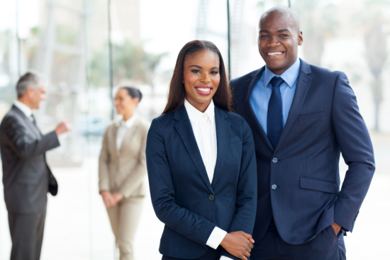 man and woman wearing a corporate attire